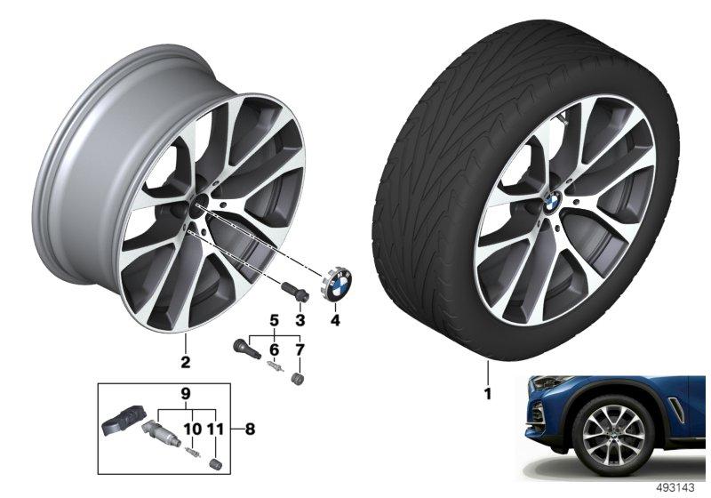 Легкосплавный колесный диск (V-образные спицы) 738 для BMW X5 G05 (код 36116883758)